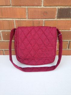 Burgandy Quilted  Messenger Bag  (332) by MothersApronString on Etsy