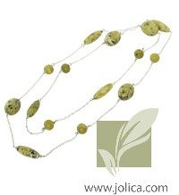 Sterling Silver and Serpentine come together to create this stunning necklace.