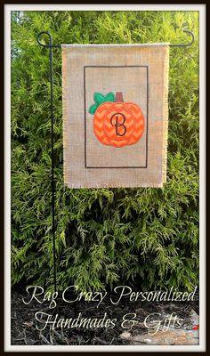 Burlap Garden Flag - Pumpkin Monogrammed Fall Flag - Halloween on Etsy, $22.00