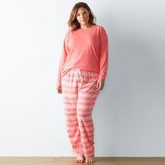 e837ad12bc7 Plus Size SONOMA Goods for Life™ Pajamas  2-Piece Knit Microfleece Pajama  Set
