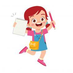 Feliz estudiante lindo niño niña con lib... | Premium Vector #Freepik #vector #chica #caracter #dibujos-animados #estudiante Teacher Cartoon, Cartoon Kids, Cute Cartoon, Bullet Journal For Kids, Stationary For School, Boy And Girl Drawing, Flashcards For Kids, Kids Vector, Preschool Learning Activities