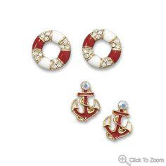 Nautical Theme 4 Piece Fashion Stud Earing Jewelry Set