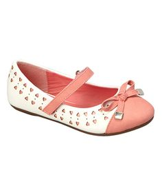 Look at this Kelly Kids White & Pink Bow Joanie Flat on #zulily today!