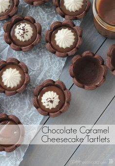 Chocolate Caramel Cheesecake Tartlets - Chocolate Shortbread Mini Tartlets filled with Buttery Salted Caramel and topped with a Fluffy No Bake Cheesecake. food dessert tart via Tart Recipes, Cheesecake Recipes, Baking Recipes, Cookie Recipes, Dessert Recipes, Mini Desserts, Just Desserts, Delicious Desserts, Health Desserts