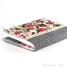 Fabric Journal, Red Rose, Black Gingham, Fabric Cover A6 Notebook, Diary, Garden Flowers, White Gingham, Beige Lace, Vintage Look Book Cover