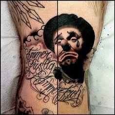 nate sad clown | BLACK ANVIL TATTOO Black Tattoos, Tattoo Ideas, Sad, Skull, Black Art Tattoo, Back Tattoos, Skulls, Sugar Skull