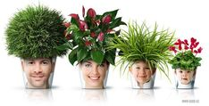 Facepots - A hilariously awesome project that anyone with a flowerpot, a closeup photo, a pair of scissors and mod podge or glue, and, of course, a plant can easily create.