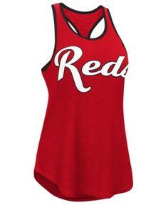 812e59b442fe99 G-iii Sports Women s Cincinnati Reds Oversize Logo Tank - Red Black XXL