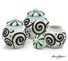 "Set Of 3 Swirl Design Canisters Beautiful Food Storage Great For Contemporary Style Kitchens by Burton & Burton. $95.50. Hand painted ceramic canisters. Each canister measures:Large: 8 1/2""H X 4 1/2""Opening. Medium: 8""H X 3 3/4""Opening.Small: 7""H X 3""Opening.. Set of 3 canister with a beautiful black swirl design. Hand wash/FDA approved. Beautiful set of 3 canisters designed by Artist Carla Grogan"