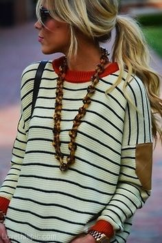 Wavy Pony fashion stripes blonde hair