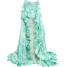Roberto Cavalli Printed ruffled ruched silk-satin maxi skirt ($975) ❤ liked on Polyvore featuring skirts, turquoise, long ruffle skirt, maxi skirts, ruched maxi skirt, long tiered ruffle skirt and tiered skirt