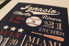"Customized Vintage Baseball Theme Nursery Print - 8""x10"" - LOVELY LITTLE PARTY. $18.00, via Etsy."