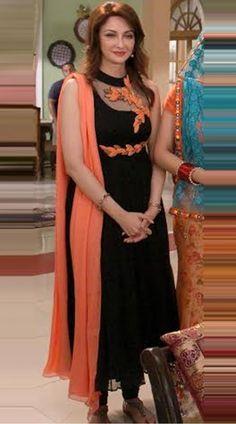 Buy black chiffon salwar kameez worn by saumya tandon aka anita in bhabhi ji ghar par hai!Do you require punjabi suits such as punjabi suit fashion boutique Look at internet site Stylish Dress Designs, Dress Neck Designs, Designs For Dresses, Stylish Dresses, Blouse Designs, Fashion Dresses, Suit Fashion, Churidhar Designs, Salwar Designs