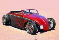 vw beetle hot rod convertible flames