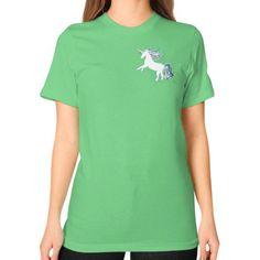 Unicorn White Unisex T-Shirt (on woman)