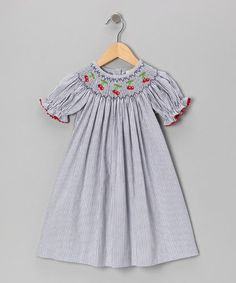 Take a look at this Navy Stripe Cherry Bishop Dress - Infant, Toddler & Girls by Secret Wishes on #zulily today!