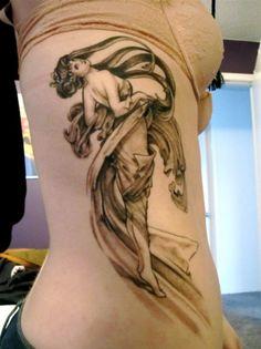 Tattoo artist's interpretation of Alphonse Mucha's painting, Dance from the Arts series.