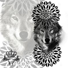 New Tattoo Wolf Realistic Wolves Black Ideas Geometric Mandala Tattoo, Mandala Drawing, Wolf Tattoos, Body Art Tattoos, Blackwork, Sunflower Tattoo Small, Wolf Sketch, Wolf Tattoo Design, Desenho Tattoo