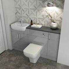 Explore the best is stylish yet flexible fitted bathroom furniture like this Oliver 1500 vanity with toilet & storage. Seamless wall to wall installation! Small Full Bathroom, Small Bathroom Interior, Small Bathroom Layout, Modern Bathroom, Grey Bathrooms, Fitted Bathrooms, Narrow Bathroom, Shower Bathroom, Family Bathroom