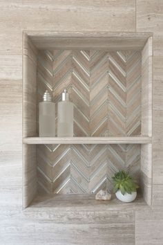 Beautiful chevron tiled shower niche & JNL Marble & Granite Inc. Beautiful chevron tiled shower niche & JNL Marble & Granite Inc. The post Beautiful chevron tiled shower niche Shower Remodel, Tile Shower Niche, Bathroom Makeover, Modern Bathroom, Bathroom Renovations, Half Bathroom Remodel, Bathrooms Remodel, Bathroom Design, Bathroom Decor