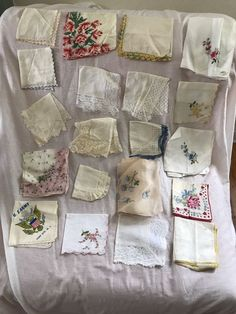Lot of 19 Vintage Handkerchief Hankies Burmel Lace Embroidered Crochet + 1 Scarf #Burmelmore