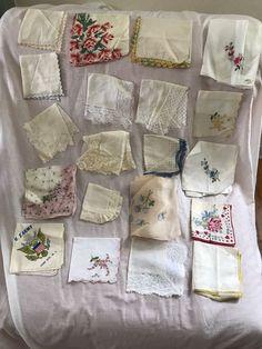 Lot of 19 Vintage Handkerchief Hankies Burmel Lace Embroidered Crochet + 1 Scarf #Burmelmore