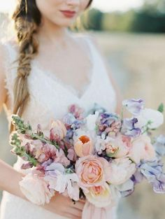 Beautiful pastel wedding bouquet perfect for a spring weddin.- Beautiful pastel wedding bouquet perfect for a spring wedding Tulip Wedding, Wedding Flower Guide, Purple Wedding, Spring Wedding Bouquets, Spring Bouquet, Bridal Bouquets, Sweet Pea Wedding Bouquet, Spring Weddings, Tulip Bridal Bouquet