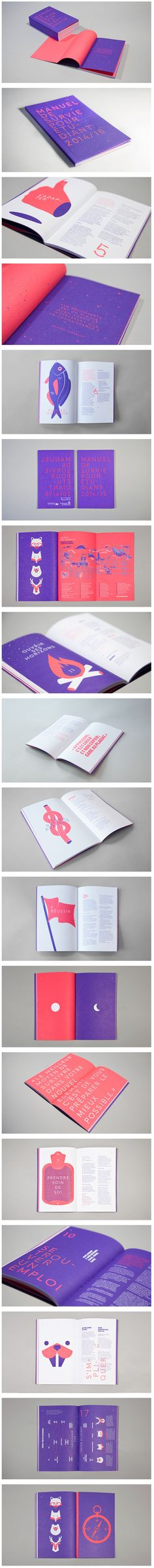 """UdeM Manuel de survie de l'étudiant 2014/2015 by Baillat Cardell & fils Transform a practical guide for new students into a cool original graphic book. Such was the task that the UdeM, Université de Montreal, asked us. Like a boy-scout guide, the """"Manuel de survie pour étudiants"""" show the different aspects of school life at UdeM in a fun graphic way.The illustrations and texts give an editiorial perspective to the little book."""