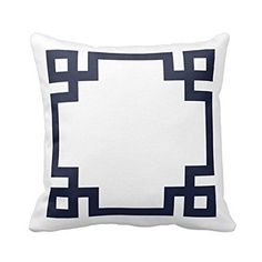 "Pillow Cases Standard Size, Hidoon® 18 ""X18 "" Cotton Linen Decorative Throw Pillow Case Cushion Cover Navy Blue and White"