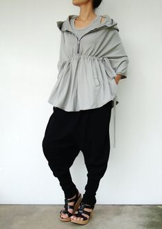 Hooded poncho Etsy listing at https://www.etsy.com/listing/92509613/no75-light-grey-cotton-jersey-zip-front