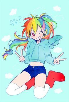 Resultado de imagen para rainbow dash human dibujo