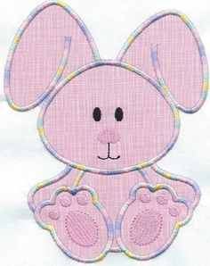 Sweet Bunny Pink machine embroidered applique patch by QUILTSRUS08