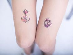 This Floral Anchor & Helm- Temporary Tattoo- Tattoo Stickers is just one of the custom, handmade pieces you'll find in our prints shops. Bff Tattoos, Little Tattoos, Friend Tattoos, Couple Tattoos, Mini Tattoos, Body Art Tattoos, Family Anchor Tattoos, Helm Tattoo, New Tattoo Designs