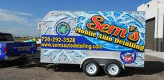 #vehiclegraphics #vehiclewraps #vehiclelettering #installationservices #vehiclegraphicsdesigns #SignaramaColorado #Signs #colorado digitally printed vinyl graphics for trailer wrap for Sem's Movile Auto Detailing