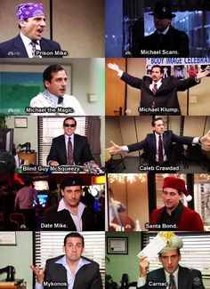 The many faces of Michael Scott. My favorites are Prison Mike, Date Mike, and Caleb Crawdad Parks N Rec, Parks And Recreation, Michael Klump, Dark Souls, The Office Show, Date Mike The Office, Office Tv, Prison Mike The Office, Office Jokes