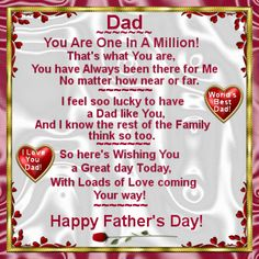 On Fathers Day June send this ecard to your Dad with your love! Happy Dad Day, Happy Mothers Day Wishes, Happy Father Day Quotes, Happy Quotes, Fathers Day Usa, Happy Fathers Day Pictures, Happy Birthday Papa, Father Images, Time To Celebrate