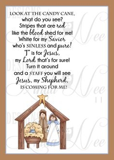 Legend of the Candy Cane Nativity Card, Printable Christian Card for Witnessing at Christmas, Jesus is the Reason for the Season Printable – Candy Cane Primary Christmas Gifts, Christmas Program, A Christmas Story, Kids Christmas, Christmas Jesus, Christmas Skits, Christian Christmas Crafts, Christmas Quotes, Christmas Treats