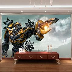 3D Bumblebee Wall Mural Transformers Photo Wallpaper Boys Kids Bedroom Custom Movies Wallpaper Livingroom Large wall Art Room Decor Hallway Home decoration photography background