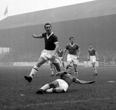 20th September 1958. Middlesbrough centre forward Brian Clough in action against Charlton Athletic.