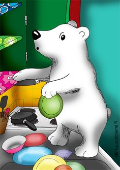 This one I drew almost six years ago and I colored it digitally back then (see below). It was a dream I once saw of a little polar bear that surprised me in our kitchen by emptying the cupboards... Ahem.. Nice job! I loved to explore this for the first time with color pencils.