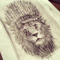 feather lion tattoo - Google Search