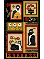"A Cat for All Seasons Panel - 24"" x 42"" « Go Back A Cat for All Seasons Panel - 24' x 42"" ~~ Technique - Fabric.  These beautiful black-and-white folk art cats make a bold, whimsical statement!  The panel can be cut apart to make mini-quilts, pillows and other gifts for your cat-loving friends. 100% cotton panel from Benartex. Full panel size 24"" x 42""."