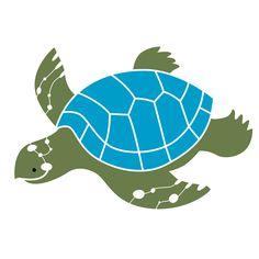 Sea Turtle Wall Stencil for Kids Ocean Mural