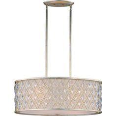 illumine 4light golden silver island pendant with off white linen fabric shadehd