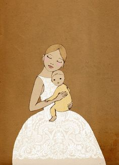 Girl with Baby Mate Edition Print of original drawing. via Etsy.