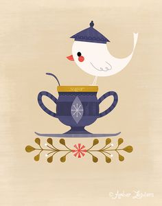 Tea Time Sugar features a rambunctious little birdy exploring and dressing up for one of my favorite beverages! It's tea time!