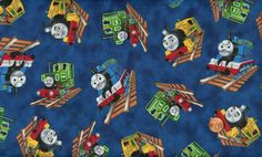 train fabric images | Details about 'WHO'S THAT TRAIN?' ALLOVER ON BLUE FABRIC - QT