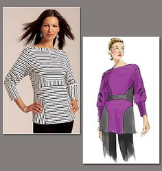 """Vogue 1109 Today's Fit by Sandra Betzina.   1/4"""" steam-a-seam, 75/11 HS Twin Needle, Woolly Nylon Thread.  60"""" fabric ONLY.  A Stripes: 4-Way Stretch Knits  B No-stripes: Moderate Stretch Knits.  A: 1 5/8 yards of fabric.  B: 1 3/8 yards of fabric and 3/8 yards of contrast."""