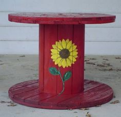 Wooden Cable Spool Garden Table