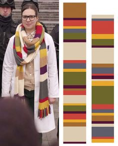 So, a comment about Osgood wearing Romana's scarf set me to hoping and then searching. Idle curiosity became an intense search and here's what I've found. Osgood's scarf (from The Day of the Doctor)...